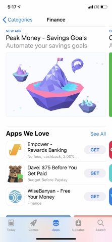Peak Money app, featured by Apple in the App Store. (Photo: Business Wire)