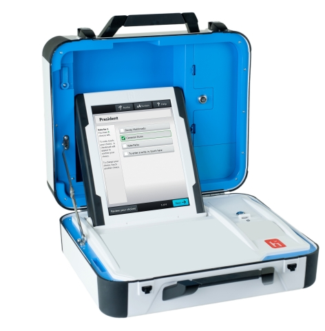 The secure new Verity Voting system from Hart InterCivic is compact and easy for election workers to ...