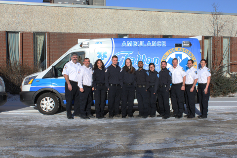 Transformative Healthcare's Fallon Ambulance Service is welcoming six new EMTs trained through an innovative new partnership with Northeastern University in Boston. L to R:  Fallon Instruction Coordinator Eric Johnson; Training and Education Director Andy DeFrias, Director of Training and Education; Northeastern students Jasmin Jalali-Yazdi, Tyler Brown, Ava Grounds, Dipak Aggarwal, Michelle Heyang, and Keegan O'Hara; Education Manager Scott Morency; EMS Fellowship Manager Tyler Richards; and Danielle Rabickow, Director, Transformative Healthcare Clinical Center of Excellence (Photo: Business Wire)