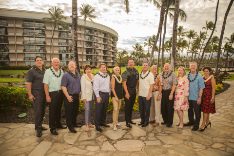 Mark Wang, president and CEO, celebrates the grand opening of Ocean Tower with Hilton Grand Vacations' leaders. (Photo: Hilton Grand Vacations)
