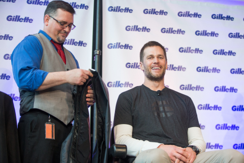 New England Patriots quarterback Tom Brady joins Gillette at their Boston Headquarters for a victory shave to benefit the Boys & Girls Clubs of Boston, Best Buddies and Dana-Farber Cancer Institute on Thursday, Feb. 07, 2019 in Boston. (Photo: Gillette)