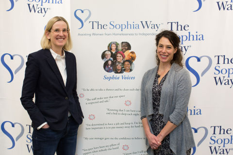 """The Sophia Way provides a vital service to women experiencing homelessness in our Eastside community,"" said Symetra CEO Margaret Meister, pictured left, with The Sophia Way Executive Director Angela Murray. (Photo: Business Wire)"