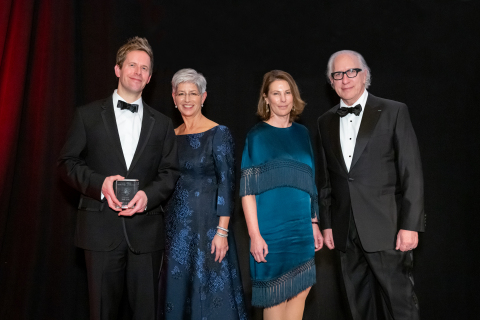 2019 USC Libraries Scripter Award winner Peter Rock, Dean Catherine Quinlan, Leave No Trace producer Anne Harrison, and Scripter Selection Committee Chair Howard Rodman. (Photo: Sarah Golonka)