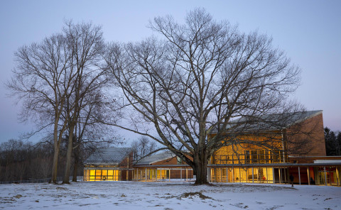Located on a ridge overlooking Ozawa Hall Lawn and Berkshire Hills vistas, Tanglewood's new Linde Center for Music and Learning, designed by William Rawn Associates Architects and opening June 2019, gathers around a 100-foot tall Red Oak, with a serpentine covered walkway connecting the four buildings and framing both views and paths. The Linde Center is home to the new Tanglewood Learning Institute, also launching in summer 2019 and offering 140+ cross-cultural activities, as well as providing support for the Tanglewood Music Center, the BSO's summer music academy. Starting in fall 2019, these climate-controlled buildings will establish Tanglewood for the first time as a year-round facility, providing access for TLI programming, event rental, and concert use by the BSO, the Berkshire community, and beyond. Further details available at tli.org, launching February 6. (PHOTO: Winslow Townson)