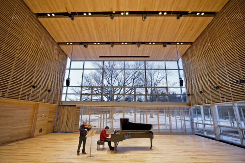"This ""first look"" at Tanglewood's new Linde Center for Music and Learning, designed by William Rawn Associates Architects and opening June 2019, shows BSO violist Michael Zaretsky and pianist Yang Bao during January 28's acoustical tests in Studio E, the largest of the four-building complex. The Linde Center is home to the new Tanglewood Learning Institute, also launching in summer 2019 and offering 140+ cross-cultural activities, as well as support for the Tanglewood Music Center, the BSO's summer music academy. Starting in fall 2019, these all-season buildings will establish Tanglewood for the first time as an all-season facility, provide year-round access to Tanglewood for TLI programming, event rental, and concert use by the BSO, the Berkshire community, and beyond. Further details available at tli.org, launching February 6. (PHOTO: Winslow Townson)"
