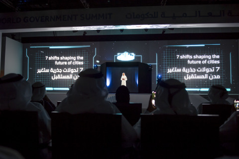 Vision of the Future. Crown Prince of Dubai, Sheikh Hamdan bin Mohammed Al Maktoum appears in holographic form to show the world what cities of the future will look like (Photo: AETOSWire)