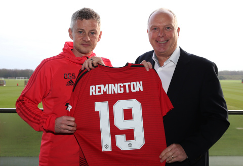Manchester United First Team Manager, Ole Gunnar Solskjær with Tim Wright, Vice President for Applia ...
