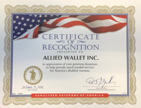Allied Wallet's Certificate of Recognition from Paralyzed Veterans of America. (Photo: Business Wire ...