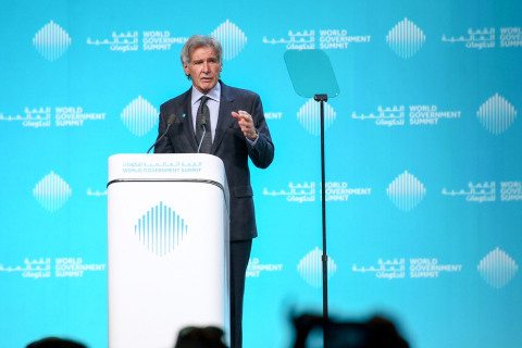 The greatest moral crisis of our time. Actor and climate change activist Harrison Ford tells high-level delegates at the World Government Summit in Dubai that the planet will be irreparably damaged in just 10 years if we don't act now. (Photo: AETOSWire)