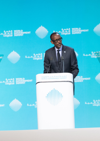 Unlimited potential - Paul Kagame, President of Rwanda, addresses the World Government Summit in Dubai. Should Africa become a united continent, he says it will realize it's full potential (Photo: AETOSWire)