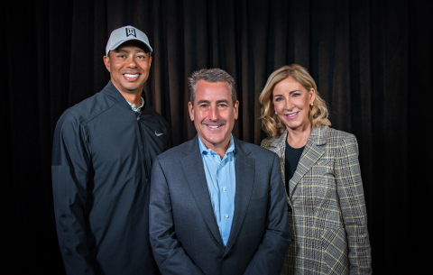 Tiger Woods, Doug Kimmelman and Chris Evert announce plans for the Carol Kimmelman Athletic and Academic Campus in Southern California. Credit: Jay Andrino