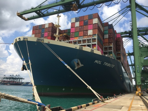 MOL Tribute achieves stowage record at PSA Singapore using Navis' StowMan planning solution (Photo: Business Wire)