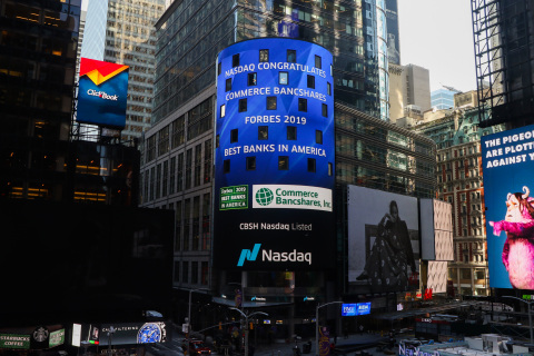 Commerce Bank's recognition on Forbes' America's Best Banks 2019 list is displayed on the Nasdaq Mar ...