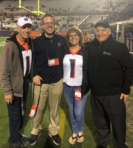 Silver Airways presents round-trip tickets to the Bahamas to Orlando Apollos' first-ever season ticket holders from Sanford, Florida, Darrell and Linda Williams during Apollos 2019 season opener. Pictured left – right: Darrell Williams, Orlando Apollos Vice President Marketing and Strategic Communications Mike Harris, Linda Williams, Silver Airways CEO Steve Rossum