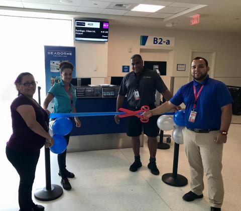 Seaborne Airlines officially returns to the Dominican Republic with nonstop San Juan – Santiago service. Pictured left – right: Lisa Pérez (Seaborne Lead Agent), Maylene Diaz (Seaborne Customer Service Agent), Walter Gomes (Silver Airways), Wesley S. Pagan (Seaborne Supervisor). (Photo: Business Wire)