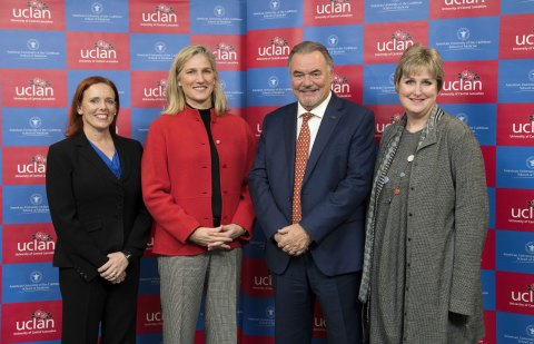 Pictured at the signing of the new partnership agreement is L-R: AUC Executive Dean, Dr. Heidi Chumley; Adtalem Global Education's Group President for Medical and Healthcare Education, Kathy Boden Holland; Pro-Chancellor and Chair of the UCLan Board, David Taylor; Liz Bromley, UCLan's Deputy Vice Chancellor & Joint Institutional Lead. (Photo: Business Wire)