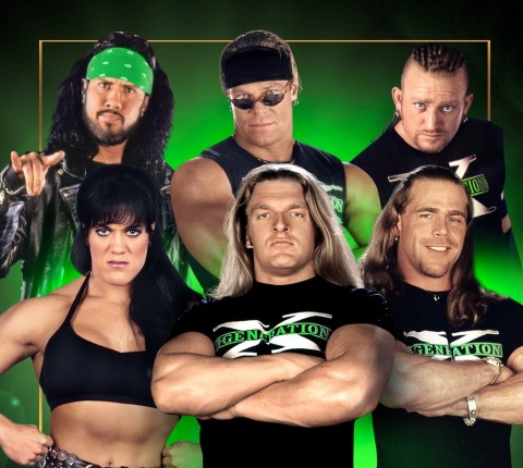 Top left to right: X-Pac, Billy Gunn and Road Dogg Bottom left to right: Chyna, Triple H and Shawn Michals (Photo: Business Wire)