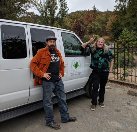 Veteran tour guides Misha Frankly (Left) and Chris Vardijan (Right) bring the Napa Valley wine tour model to California Cannabis. (Photo: Business Wire)