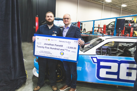 Jonathan Fanstill (left), a student at UTI, received a $2500 scholarship today from Icahn Automotive Group, presented by Brian Kaner, president of service for Icahn Automotive Group and Pep Boys. (Photo: Business Wire)