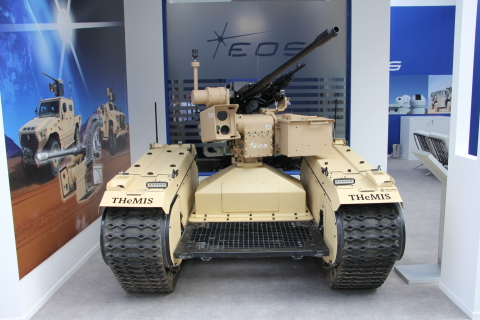 The weaponized warfare system features the THeMIS unmanned ground vehicle equipped with the R400S –  ...