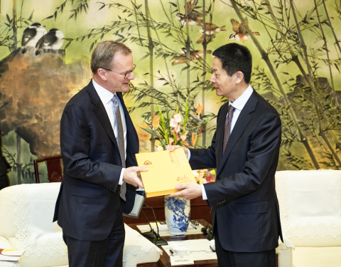 Wu Qing, vice mayor of the Shanghai Municipal Government & Jeff Gentry, chairman and CEO for INVISTA ...