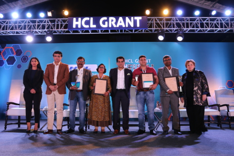 L to R - Ms. Roshni Nadar Malhotra, Vice Chairperson, HCL Technologies and Chairperson, CSR Committee, HCL Technologies; Mr. Sourav Ganguly, Former Captain of Indian National Cricket Team; Mr. Amitabh Kant, CEO, NITI Aayog and Ms. Robin Abrams, former president of Palm Computing and longest-serving Board member of HCL Technologies along with the HCL Grant 2019 recipients - Environment - Wildlife Trust of India; Health - She Hope Society for Women Entrepreneurs and Education - Srijan Foundation. (Photo: Business Wire)