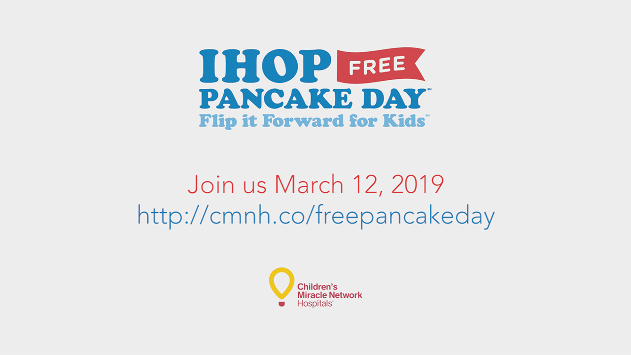 This year's IHOP Free Pancake Day: Flip it Forward for Kids event will take place at restaurants nationwide on Tuesday, March 12 from 7:00 a.m. to 7:00 p.m. with select locations participating until 10:00 p.m.