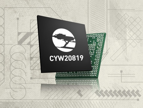 Pictured is Cypress' CYW20819 low-power dual-mode Bluetooth 5.0 and Bluetooth Low Energy microcontroller that include support for Bluetooth mesh networking for the IoT. (Graphic: Business Wire)