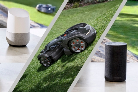 Husqvarna Automower 435X AWD is compatible with Amazon Alexa and Google Home (Photo: Business Wire)