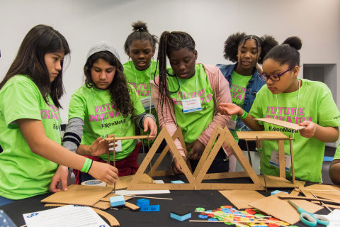Middle-school students honed their problem-solving skills with ExxonMobil volunteers as part of the company's annual Introduce a Girl to Engineering Day. The event is designed to showcase the fun and creativity in everyday challenges and to encourage more girls to pursue engineering careers. (Photo: Business Wire)