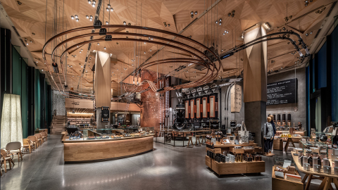 The open floor plan draws customers into the immersive experience, introducing them to the art of roasting, brewing and hand-crafting beverages. (Photo: Business Wire)