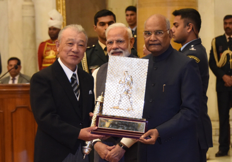 Mr. Sasakawa, Prime Minister Modi, and President Kovind (Photo: Business Wire)