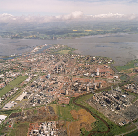 Aerial view of the Grangemouth refinery complex on the Firth of Forth in Scotland. (Photo: Business  ...