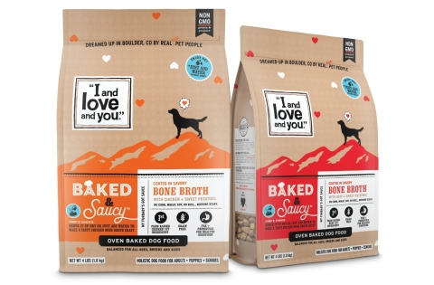 """""""I and Love and You"""" new line of oven baked dog food, Baked & Saucy in two delicious flavors, Chicken + Sweet Potatoes and Beef + Sweet Potatoes (Photo: Business Wire)"""