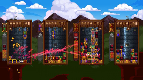 Fusing the pressure of a falling block puzzle game with grapple-powered platforming, Treasure Stack offers up a fast-paced party game experience. (Photo: Business Wire)