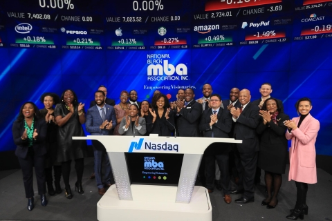 In celebration of Black History Month, NBMBAA® board member Valerie Love rings NASDAQ opening bell along with members of the New York and New Jersey Chapters. (Photo: Business Wire)