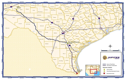 At the Brownsville terminus, the Jupiter Pipeline will connect to the Jupiter Brownsville Terminal, which will consist of up to 10 million barrels of storage, three docks in the Port of Brownsville and an offshore VLCC loading facility. (Graphic: Business Wire)