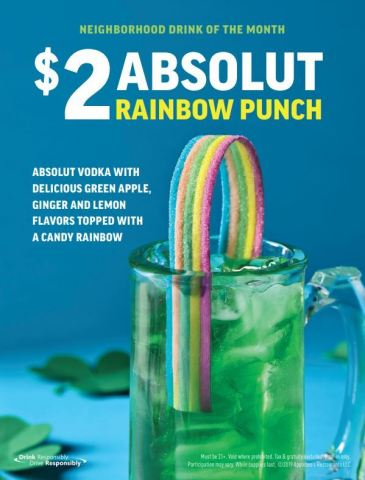 Applebee's® New $2 ABSOLUT® Rainbow Punch is Made with Vodka and Tastes Like Spring (Graphic: Business Wire)