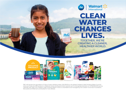 Walmart International is proud to partner with The Procter & Gamble Company (P&G) and their Children's Safe Drinking Water Program to launch a 2019 Global Event program that will raise awareness of the global water crisis. (Graphic: Business Wire)
