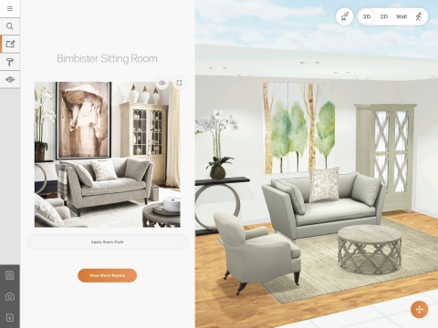 Shop the look using 3D Room Designer with Photo to Floorplan Marxent 2019 (Photo: Business Wire)