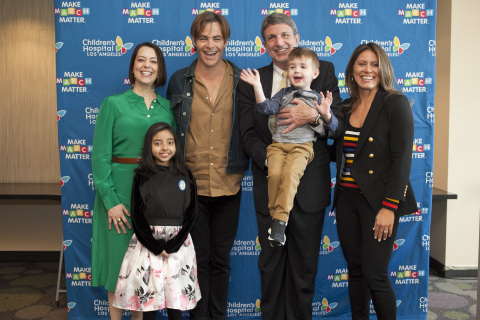 Actor Chris Pine helped Children's Hospital Los Angeles kick off its Fourth Annual Make March Matter fundraising campaign on Monday, March 4. Standing in the front is patient Kairi Ramirez, 11. Second Row (L-R): CHLA vice president and chief development officer Alexandra Carter; Pine; President and CEO Paul S. Viviano holding patient Elliott Fletcher, 3; vice president corporate partnerships Dawn Wilcox. (photo courtesy Children's Hospital Los Angeles)