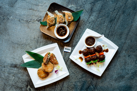 Empress highlights Impossible meat in three dishes: Black Pepper Impossible Meatball Skewers, Pan Fried Impossible Gyoza, and Impossible Crispy Pancakes with Chinese Chives. (Photo: Business Wire)
