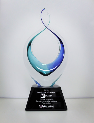 With the Distributor of the Year award, Amphenol SV Microwave recognized Mouser for continued growth in customer counts and POS, NPI investments, and technology and innovation advancements. (Photo: Business Wire)
