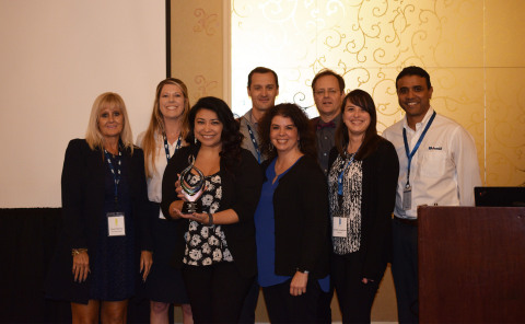 Representatives from Mouser Electronics receive the Distributor of the Year award from Amphenol SV Microwave. Pictured left to right are Carol Fleming, Kelley Nall, Gina Garza, Andrew Dinsdale, Krystal Jackson, Tom Lockard, Jordan Loughner, and Subi Katragadda. (Photo: Business Wire)