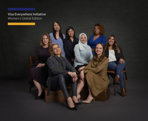 Eight former, women Visa Everywhere Initiative winners and finalists, representing regions around th ...