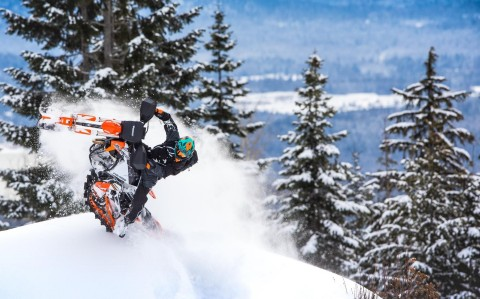 """The new 2020 Timbersled RIOT features the industry's first 3"""" track. (Photo: Polaris Timbersled)"""