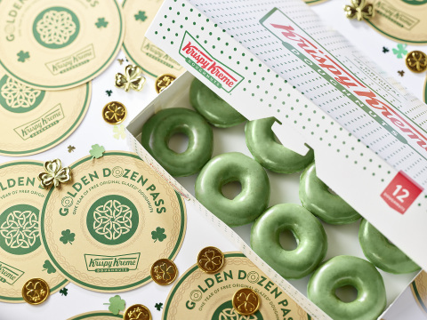March 15-17, fans can celebrate with Green O'riginal Glazed Doughnuts and the chance to win a Golden Dozen Pass worth FREE doughnuts through St. Patrick's Day 2020 (Photo: Business Wire)