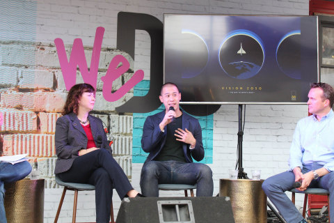 (L to R): Margaret Weitekamp, Space History Curator of the Smithsonian National Air and Space Museum; Jason Chua, Executive Director, Advanced Projects of United Technology Corp.; and Eric Fanning, President & CEO of Aerospace Industries Association. (Photo: Aerospace Industries Association)