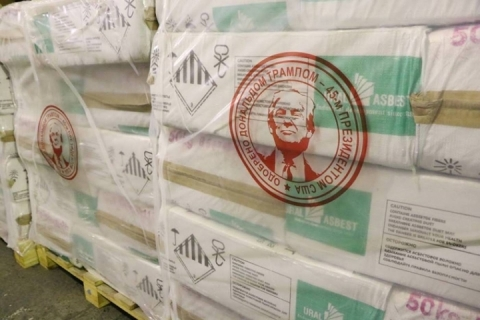 "Russian imported asbestos labeled: ""Approved by Donald Trump, 45th President of the United States"" (Photo: Business Wire)"