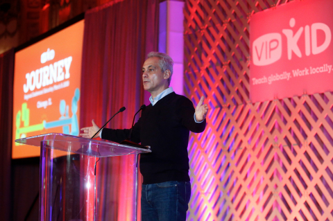 City of Chicago Mayor Rahm Emanuel delivers keynote remarks to over 500 teachers at VIPKid's fourth regional Journey conference in Chicago, March 9, 2019 (Photo: Business Wire)